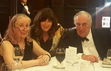 Catryn Power with Roz Crowley and Sir Frederick Forsyth, Patron of the awards